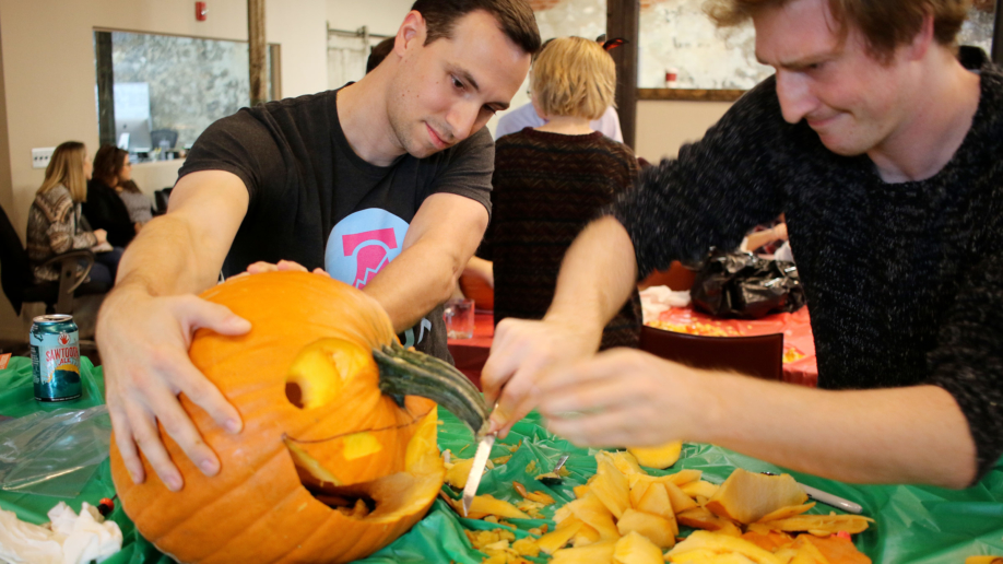 Brian and Calvin - Pumpkin Carving
