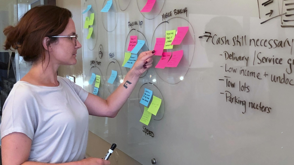 Team member looking at post-it notes
