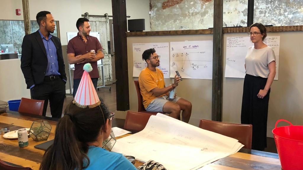 Team 1 members collaborating