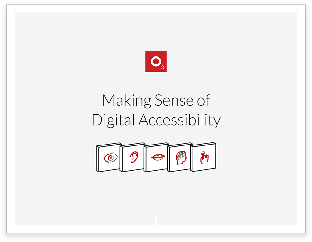 """Cover Art for """"Making Sense of Digital Accessibility"""": an e-book by O3 World."""