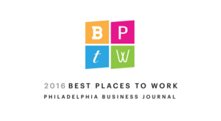 Logo for the Philadelphia Business Journal's best places to work award.