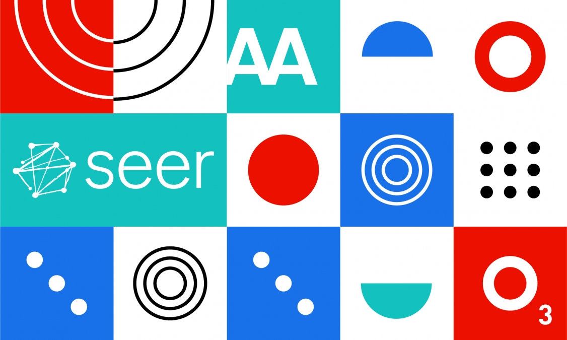 A mosaic of colorful tiles filled different shapes. Two tiles have the Seer and O3 logos.